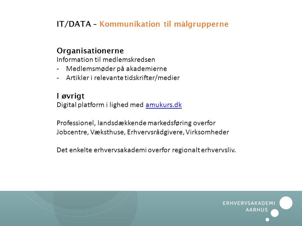 IT/DATA – Kommunikation til målgrupperne