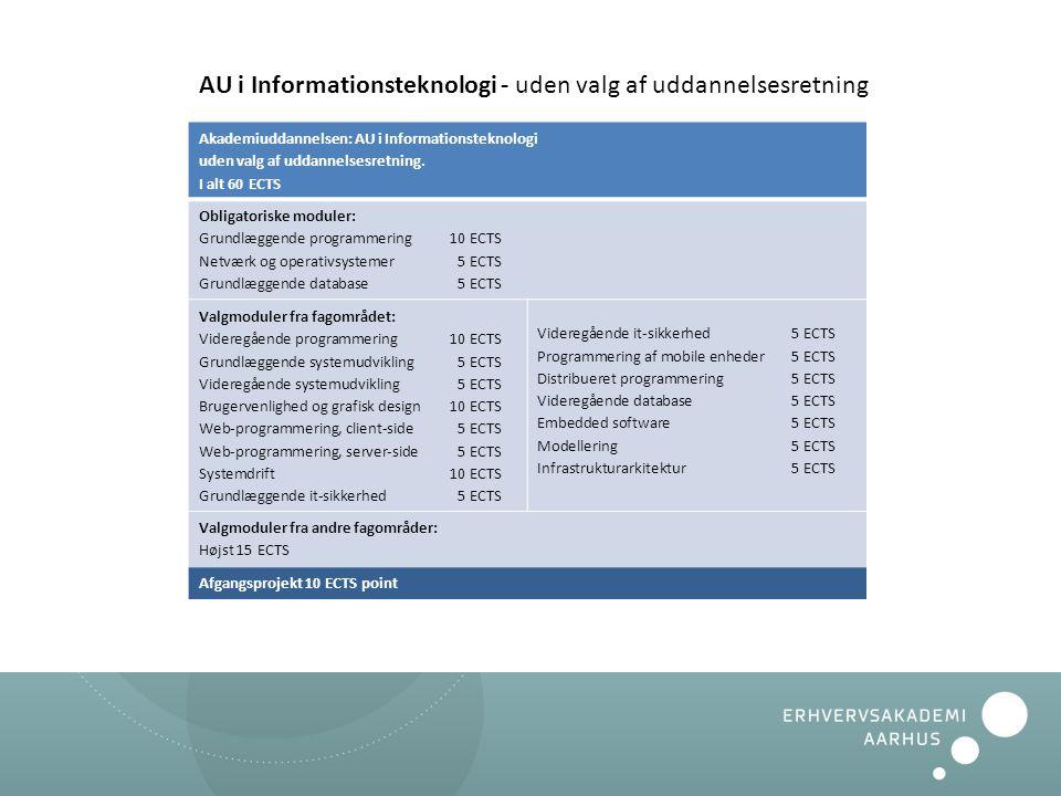 AU i Informationsteknologi - uden valg af uddannelsesretning