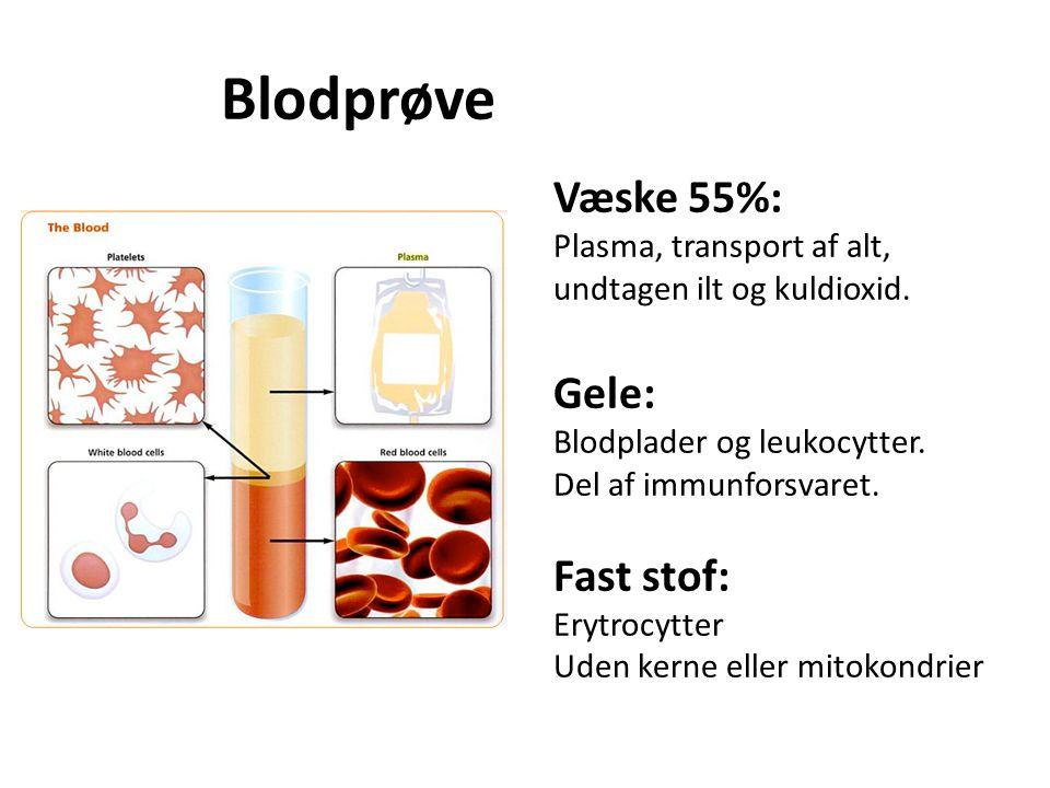 Blodprøve Væske 55%: Gele: Fast stof: