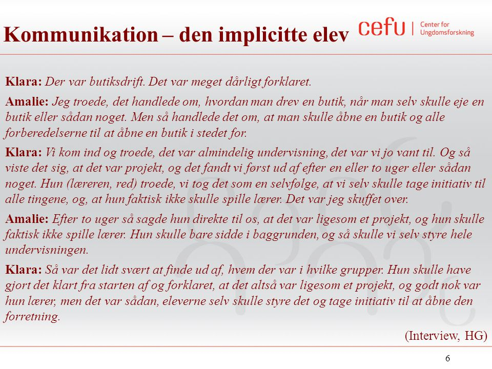Kommunikation – den implicitte elev