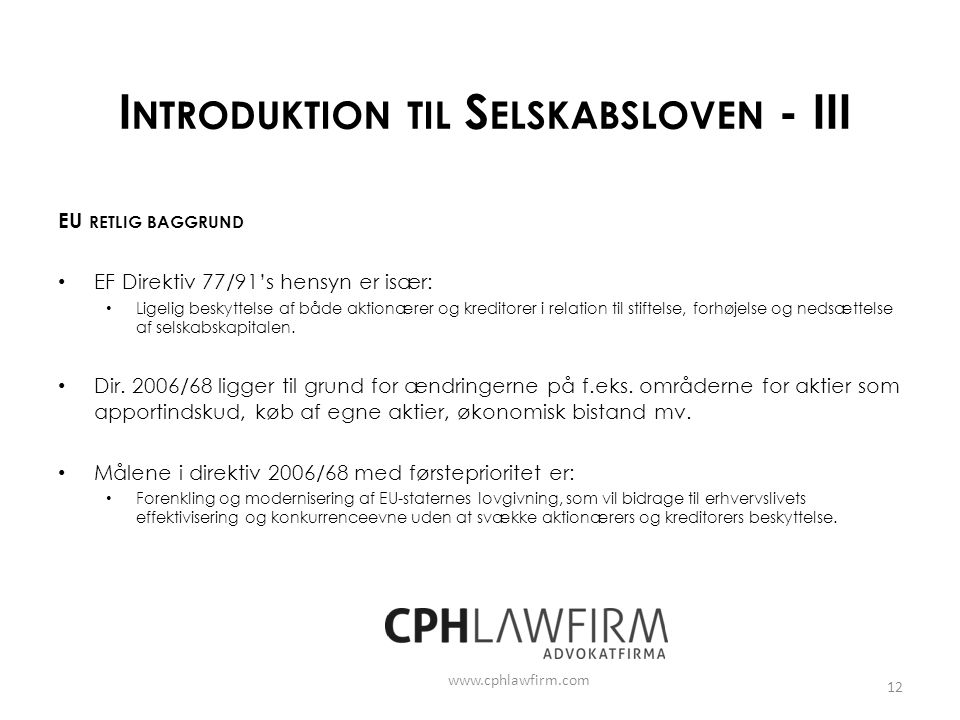 Introduktion til Selskabsloven - III