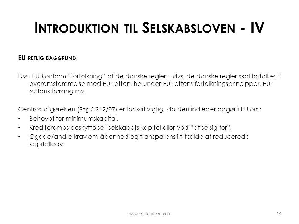 Introduktion til Selskabsloven - IV
