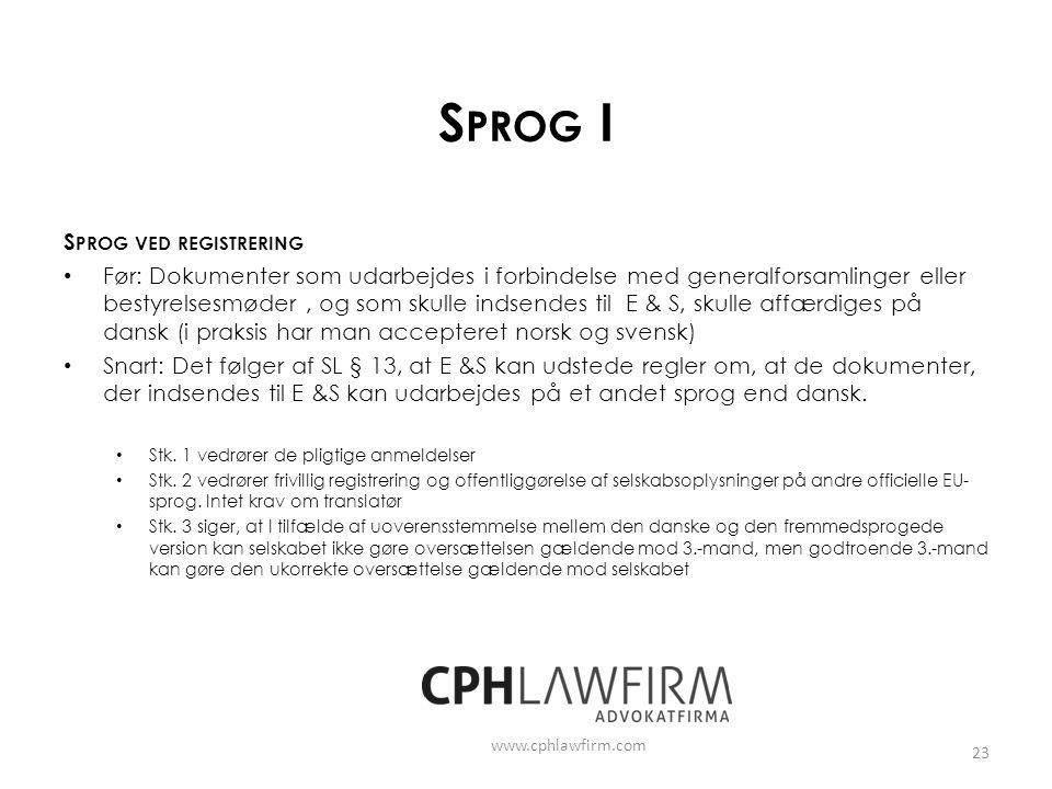 Sprog I Sprog ved registrering