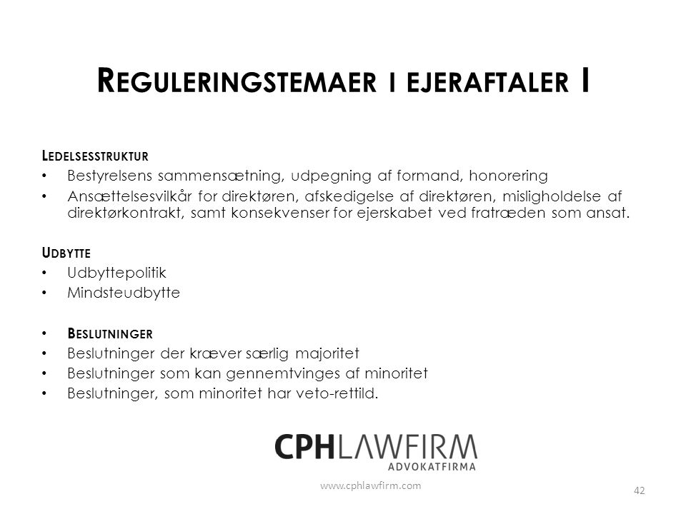Reguleringstemaer i ejeraftaler I