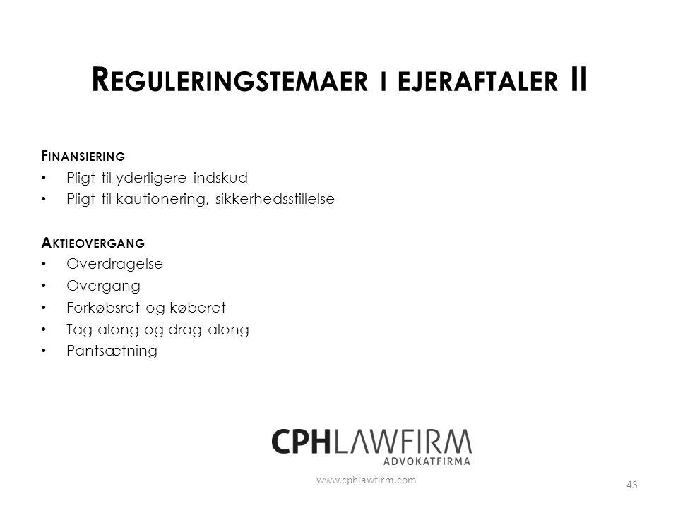 Reguleringstemaer i ejeraftaler II