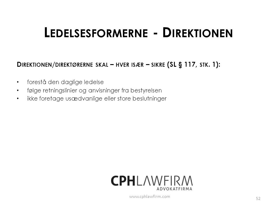 Ledelsesformerne - Direktionen