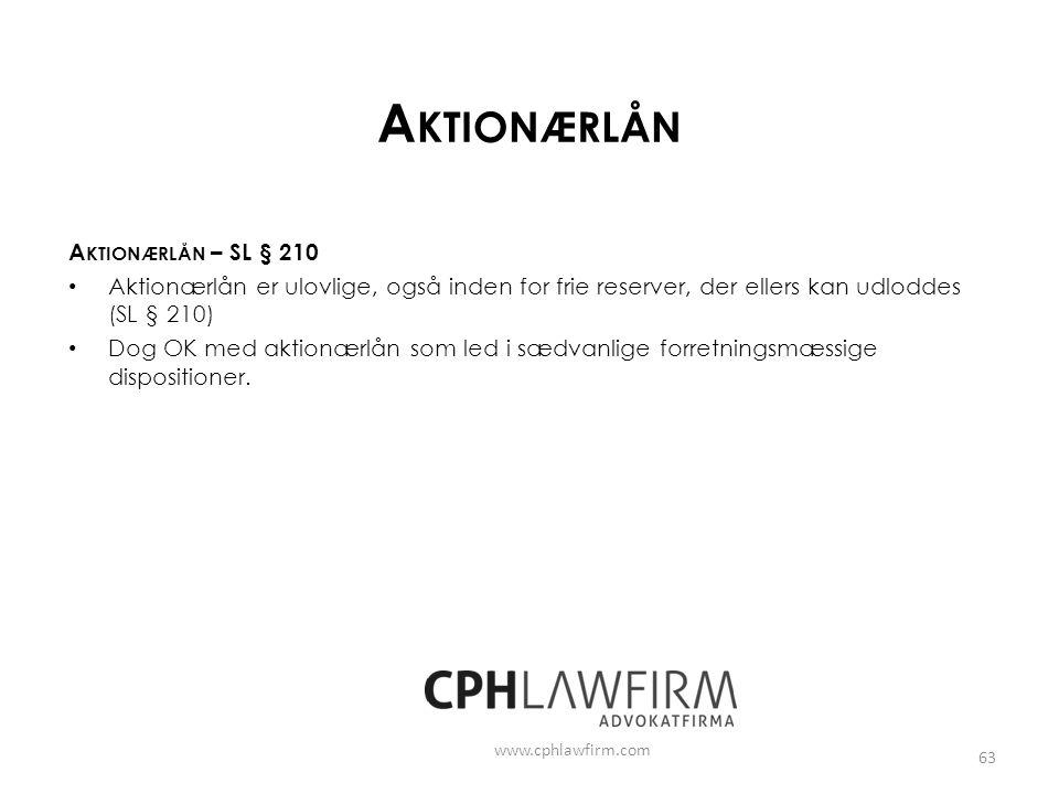 Aktionærlån Aktionærlån – SL § 210