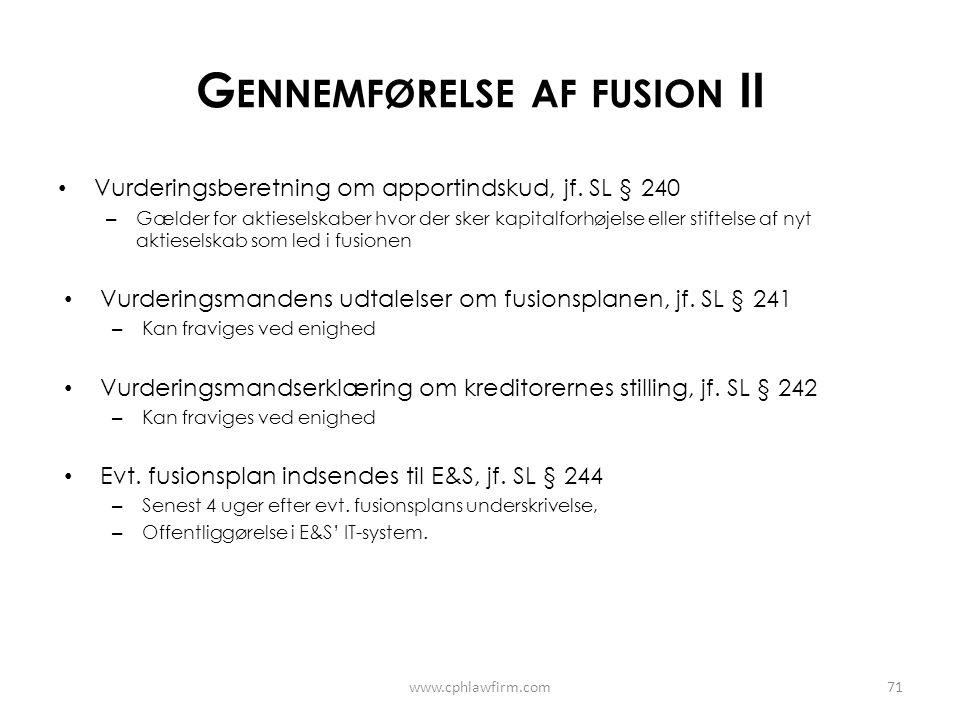 Gennemførelse af fusion II