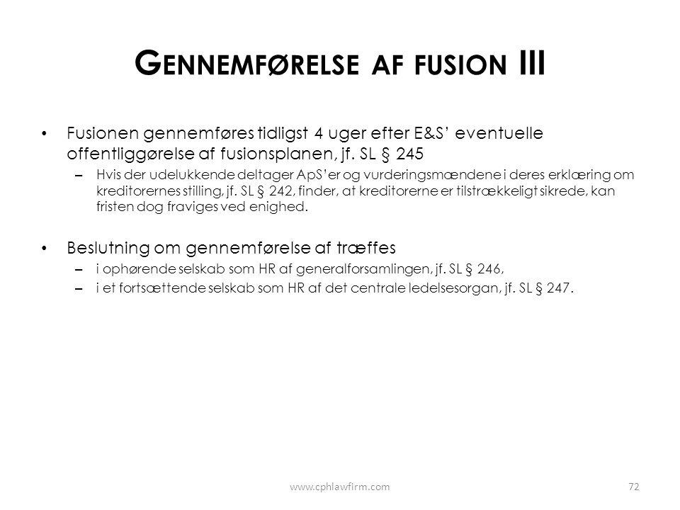Gennemførelse af fusion III