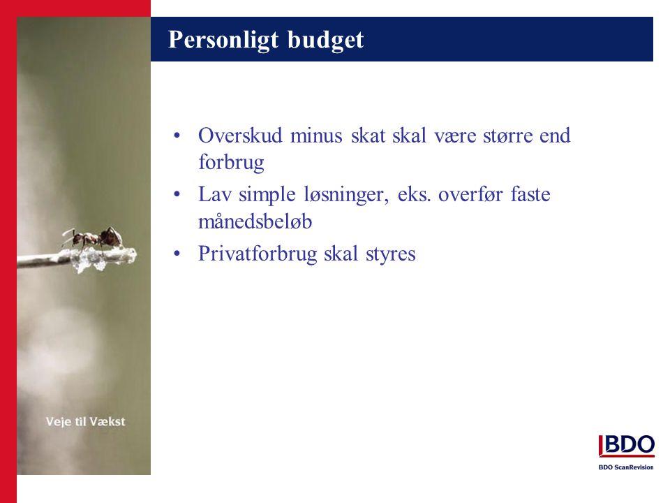 Personligt budget Overskud minus skat skal være større end forbrug