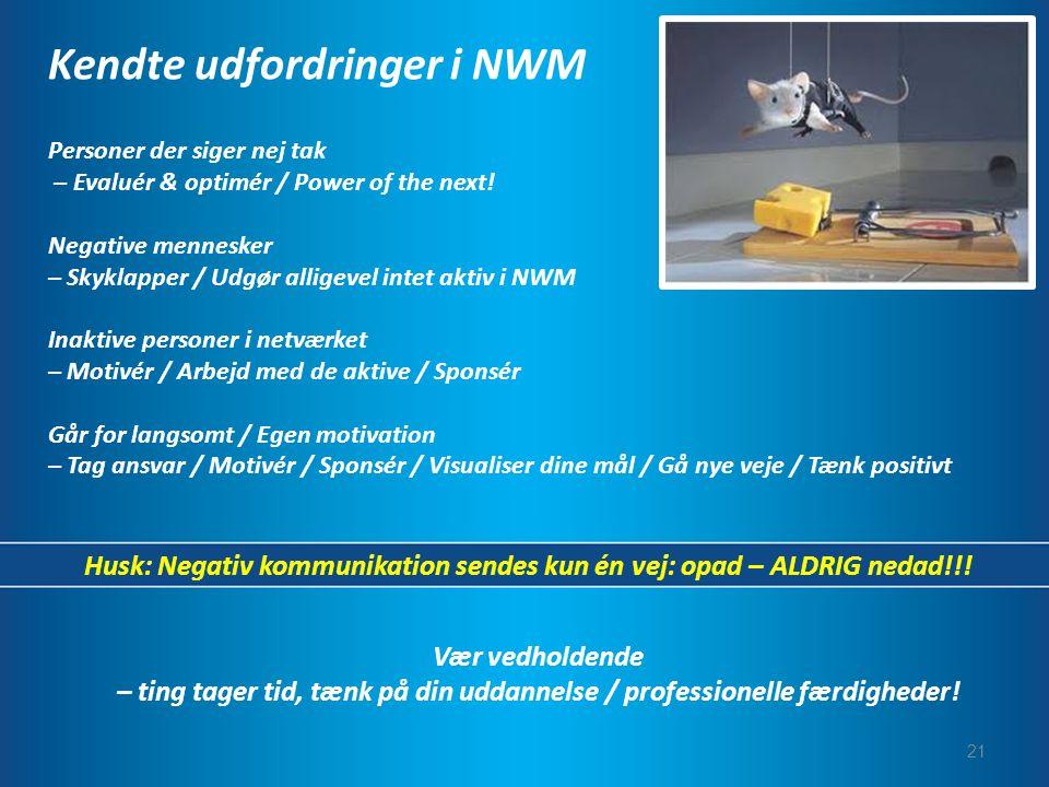 Kendte udfordringer i NWM