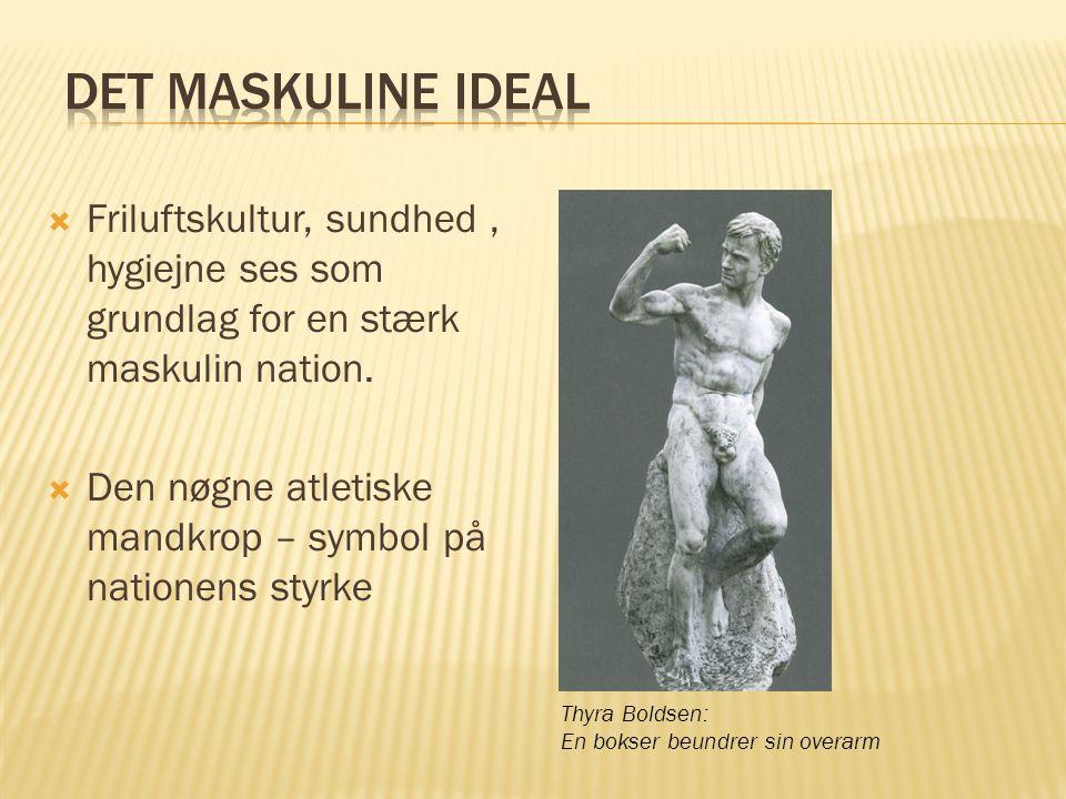 Det maskuline ideal Friluftskultur, sundhed , hygiejne ses som grundlag for en stærk maskulin nation.