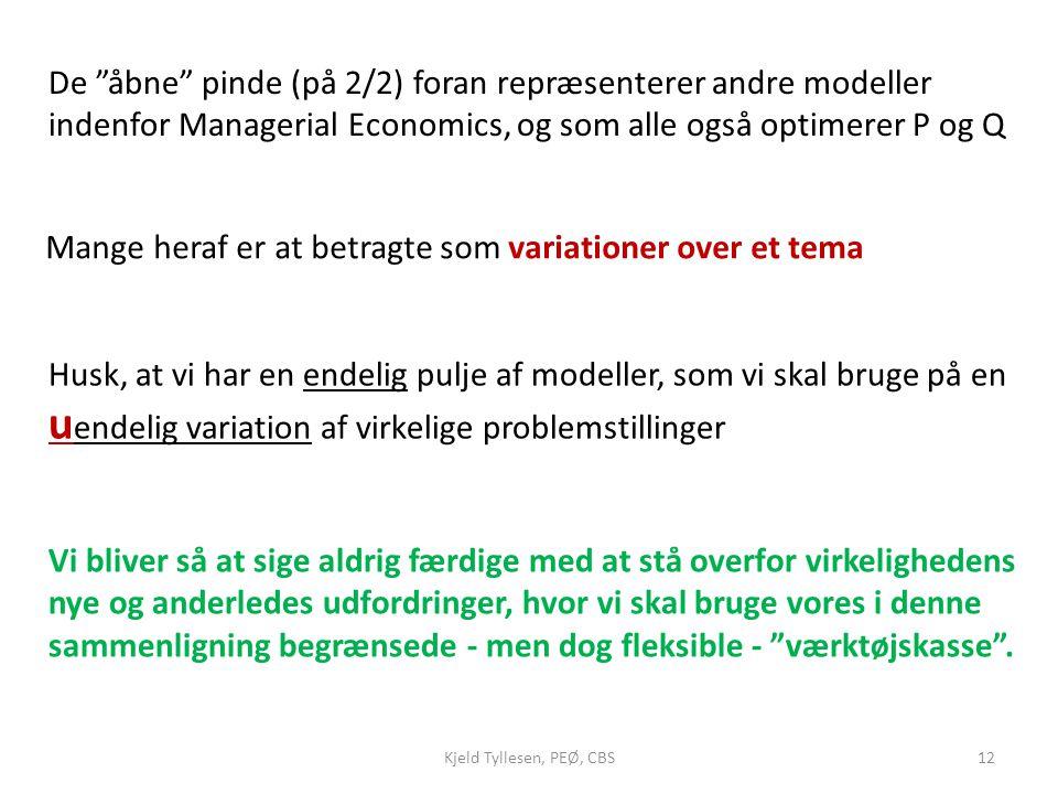De åbne pinde (på 2/2) foran repræsenterer andre modeller indenfor Managerial Economics, og som alle også optimerer P og Q