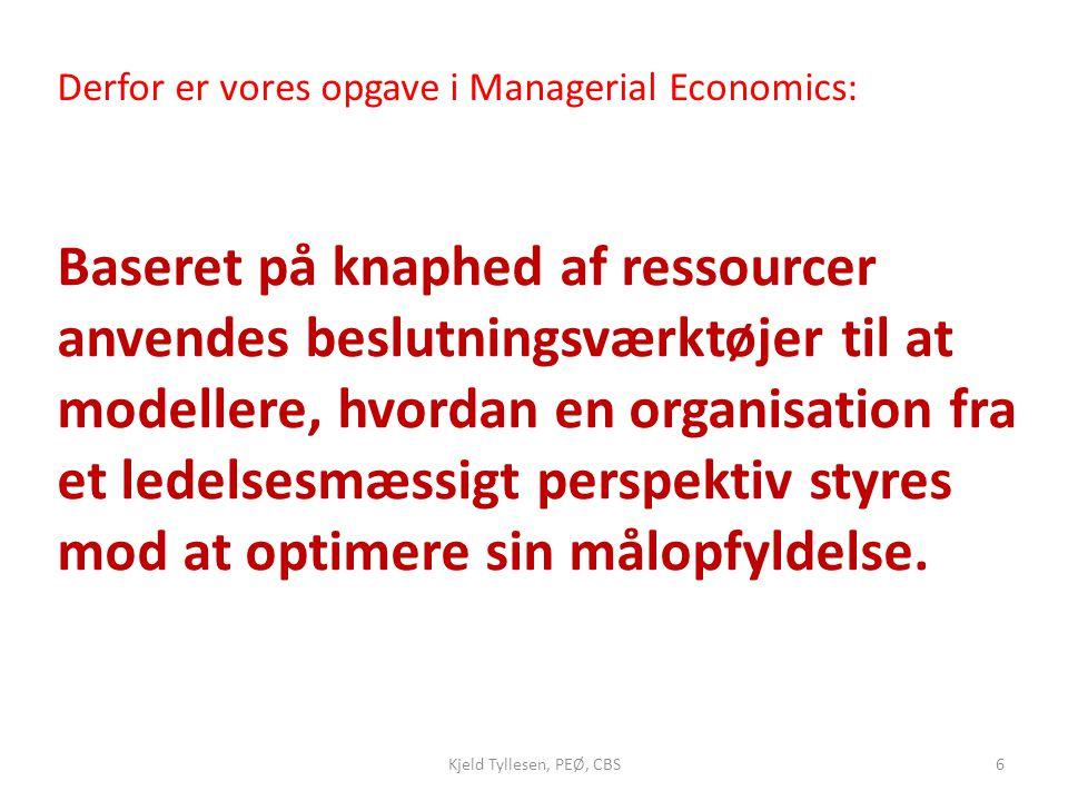 Derfor er vores opgave i Managerial Economics: