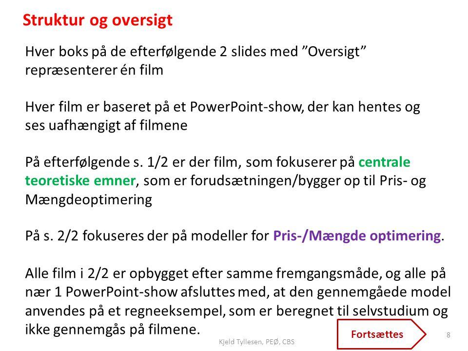 Struktur og oversigt Hver boks på de efterfølgende 2 slides med Oversigt repræsenterer én film.