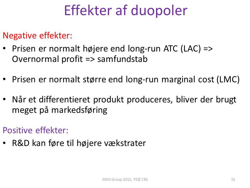 Effekter af duopoler Negative effekter: