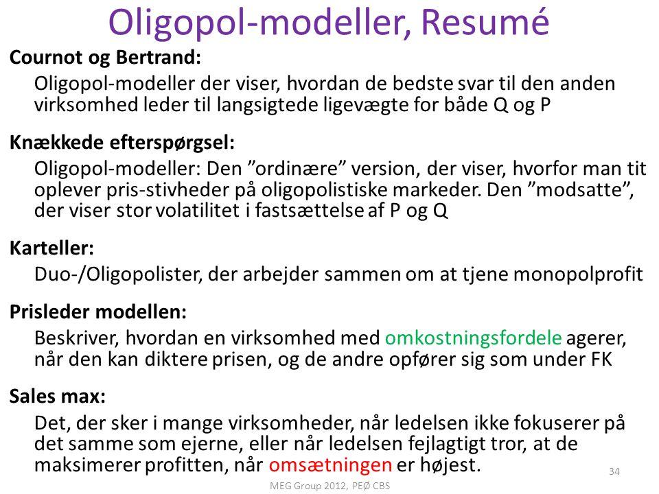 Oligopol-modeller, Resumé