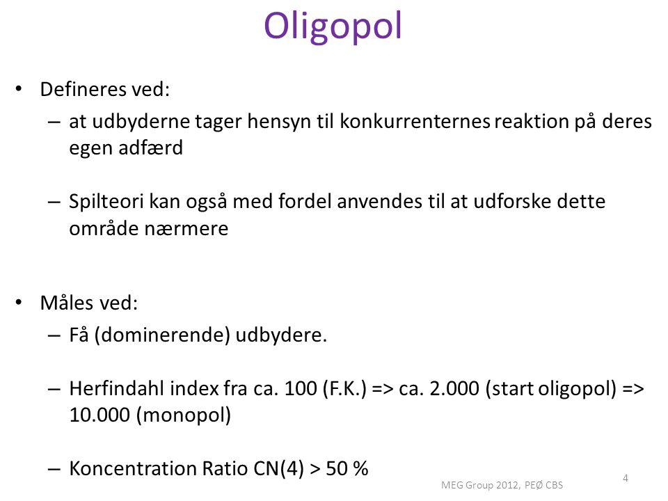 Oligopol Defineres ved:
