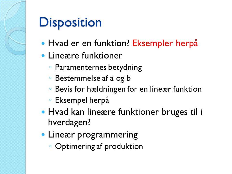 Disposition Hvad er en funktion Eksempler herpå Lineære funktioner