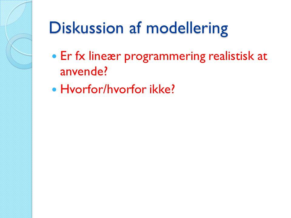 Diskussion af modellering