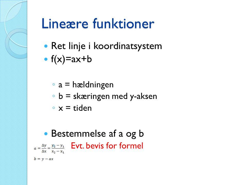 Lineære funktioner Ret linje i koordinatsystem f(x)=ax+b