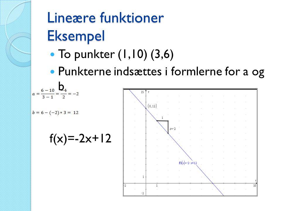 Lineære funktioner Eksempel