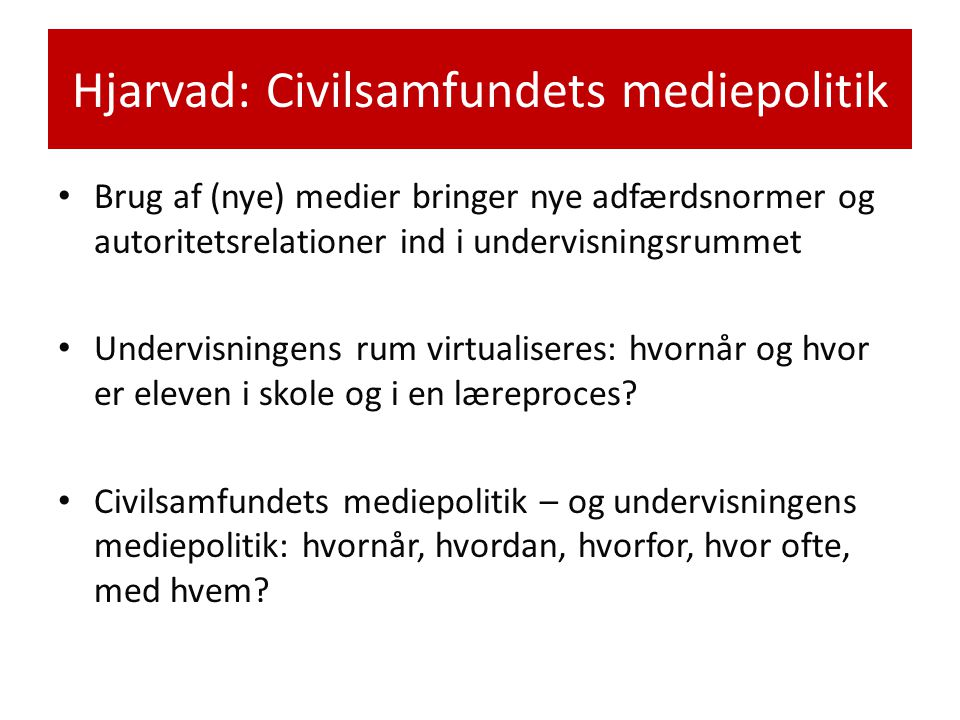 Hjarvad: Civilsamfundets mediepolitik