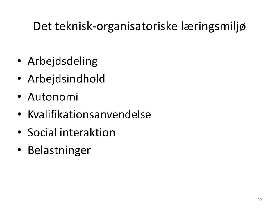 Det teknisk-organisatoriske læringsmiljø