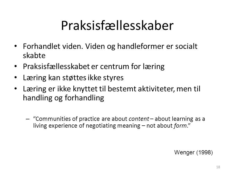 Praksisfællesskaber Forhandlet viden. Viden og handleformer er socialt skabte. Praksisfællesskabet er centrum for læring.