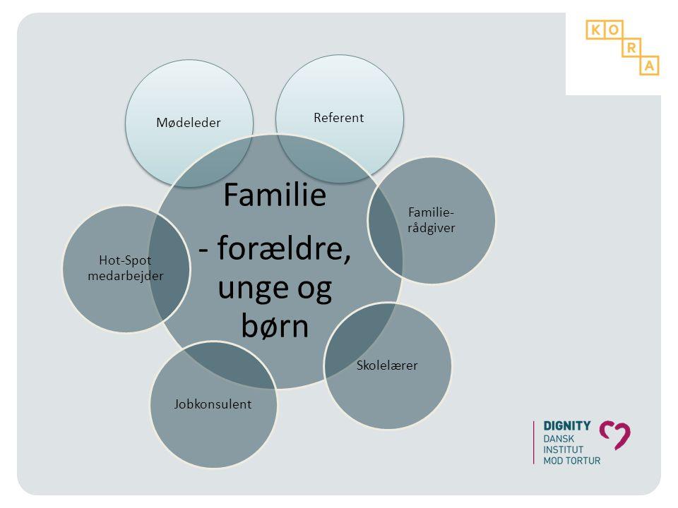 Familie - forældre, unge og børn Referent Mødeleder Familie-rådgiver