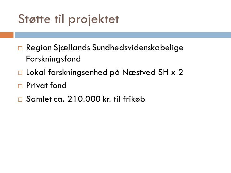 Støtte til projektet Region Sjællands Sundhedsvidenskabelige Forskningsfond. Lokal forskningsenhed på Næstved SH x 2.