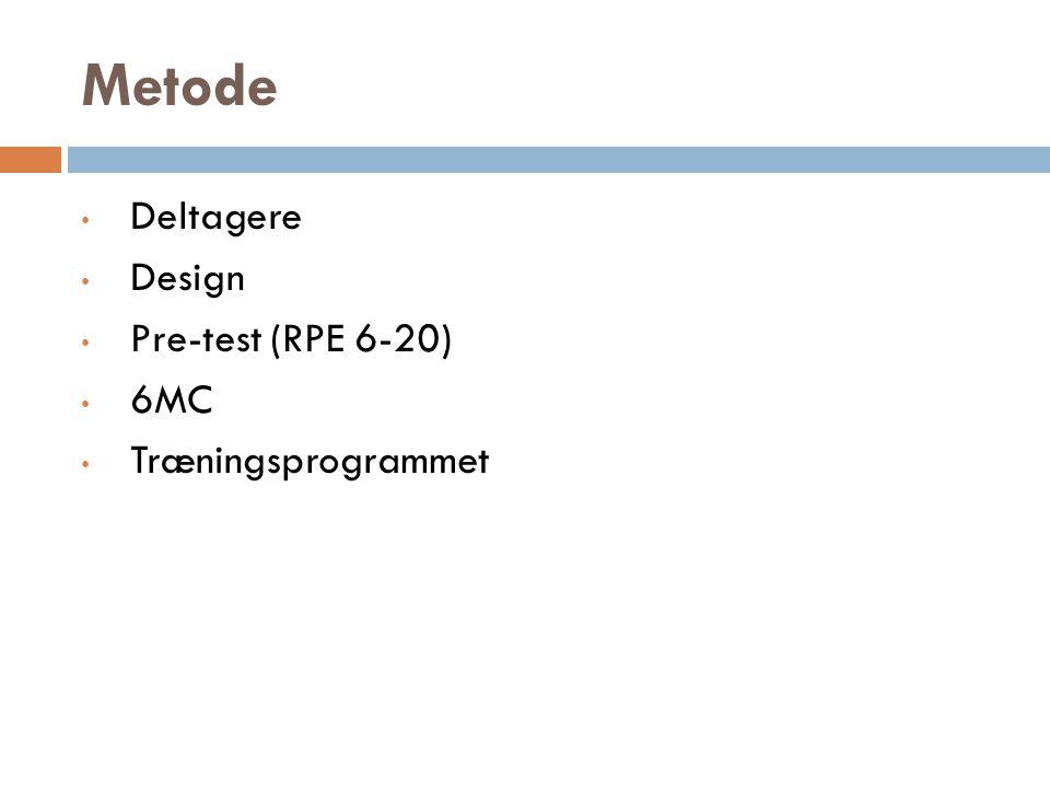 Metode Deltagere Design Pre-test (RPE 6-20) 6MC Træningsprogrammet
