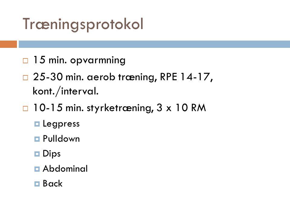 Træningsprotokol 15 min. opvarmning