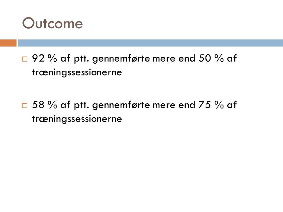 Outcome 92 % af ptt. gennemførte mere end 50 % af træningssessionerne