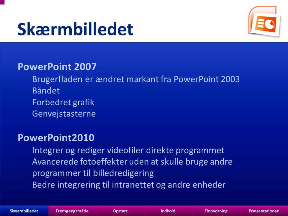 Skærmbilledet PowerPoint 2007