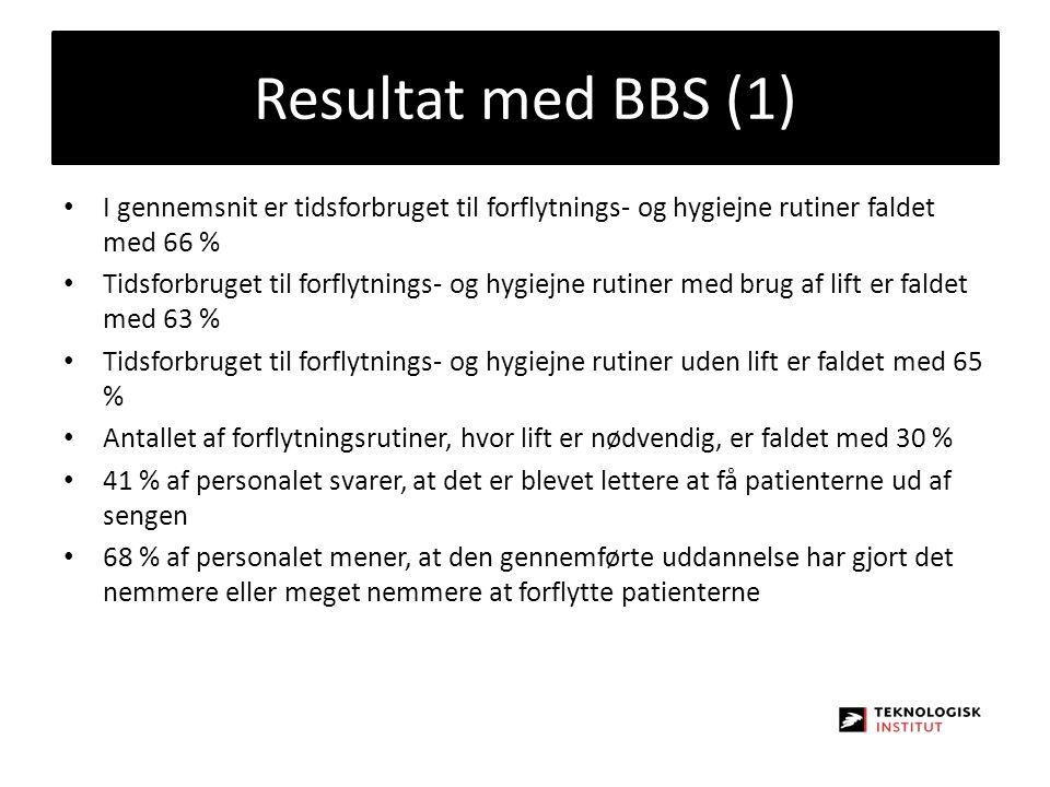 Resultat med BBS (1) I gennemsnit er tidsforbruget til forflytnings- og hygiejne rutiner faldet med 66 %