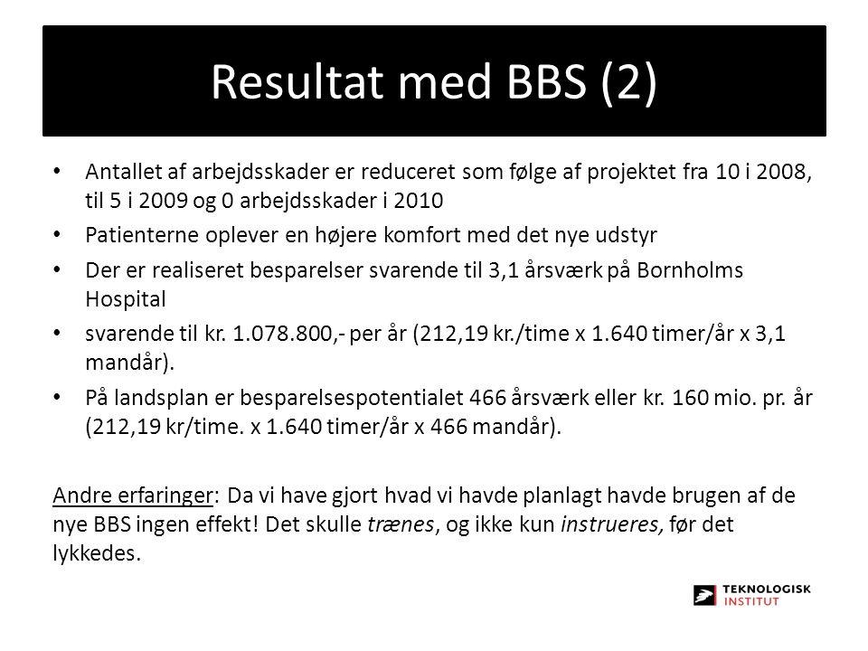 Resultat med BBS (2) Antallet af arbejdsskader er reduceret som følge af projektet fra 10 i 2008, til 5 i 2009 og 0 arbejdsskader i 2010.