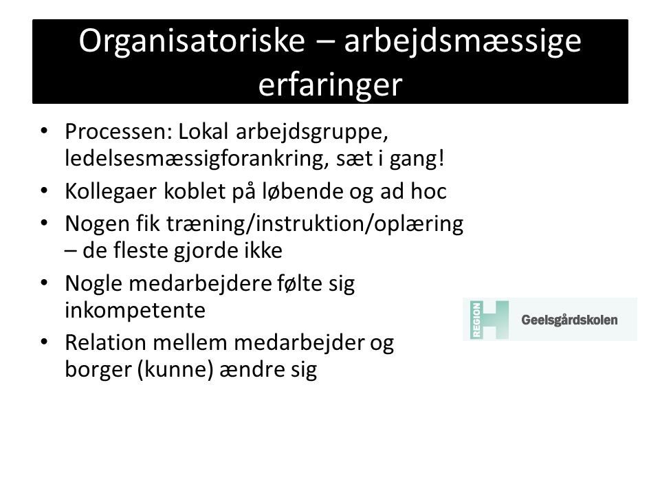 Organisatoriske – arbejdsmæssige erfaringer
