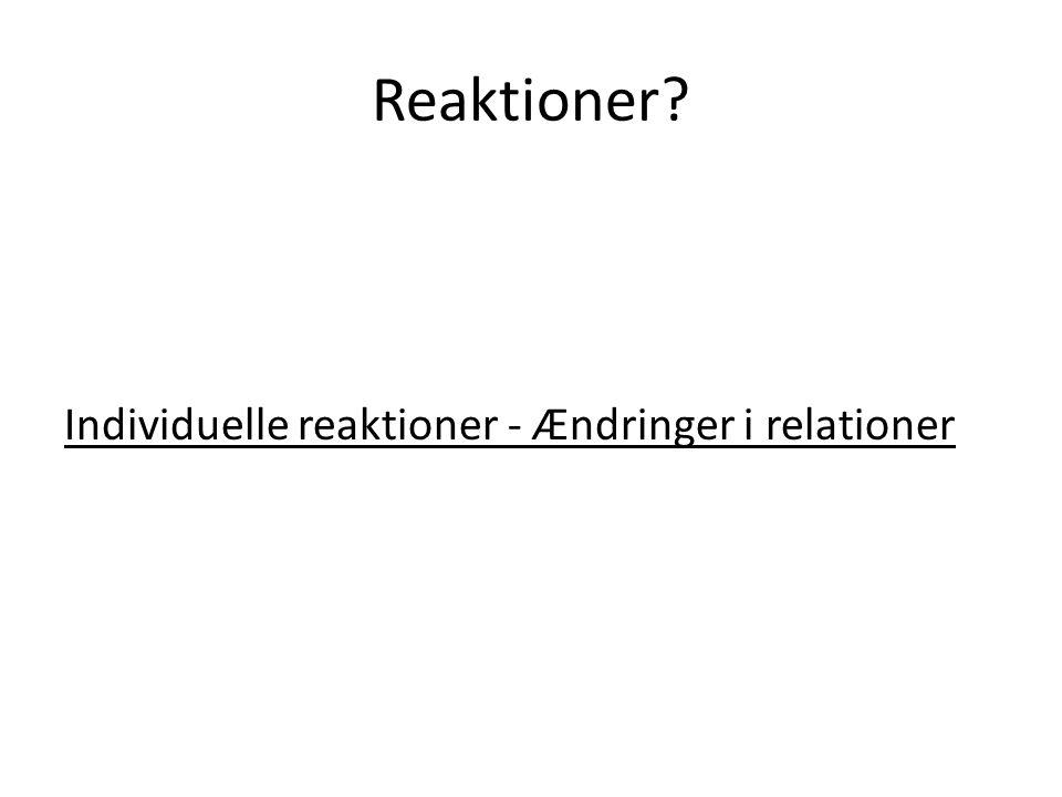 Reaktioner Individuelle reaktioner - Ændringer i relationer