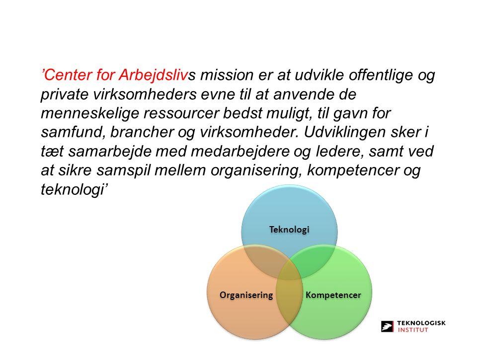 'Center for Arbejdslivs mission er at udvikle offentlige og private virksomheders evne til at anvende de menneskelige ressourcer bedst muligt, til gavn for samfund, brancher og virksomheder. Udviklingen sker i tæt samarbejde med medarbejdere og ledere, samt ved at sikre samspil mellem organisering, kompetencer og teknologi'