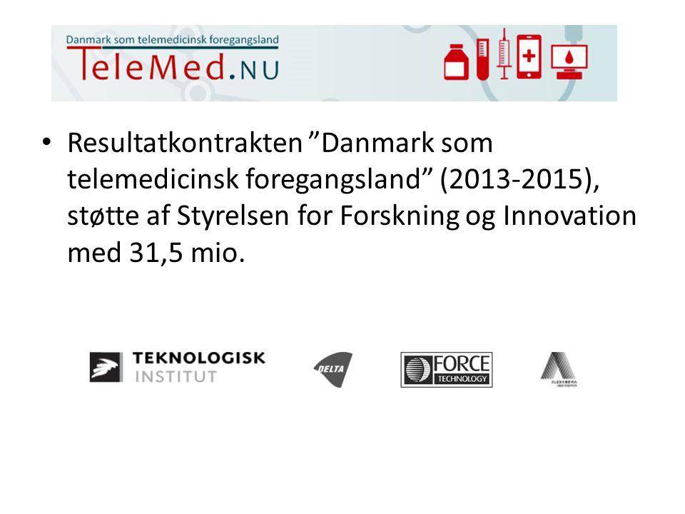 Resultatkontrakten Danmark som telemedicinsk foregangsland (2013-2015), støtte af Styrelsen for Forskning og Innovation med 31,5 mio.