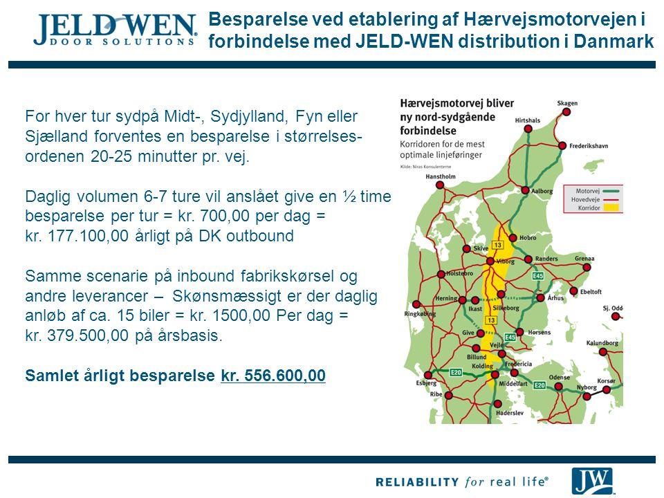 Besparelse ved etablering af Hærvejsmotorvejen i forbindelse med JELD-WEN distribution i Danmark