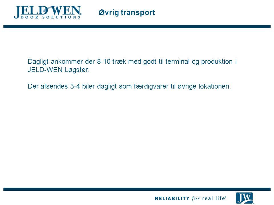 Øvrig transport Dagligt ankommer der 8-10 træk med godt til terminal og produktion i JELD-WEN Løgstør.