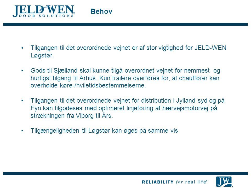 Behov Tilgangen til det overordnede vejnet er af stor vigtighed for JELD-WEN Løgstør.