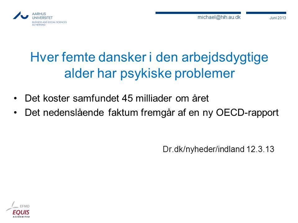 Hver femte dansker i den arbejdsdygtige alder har psykiske problemer