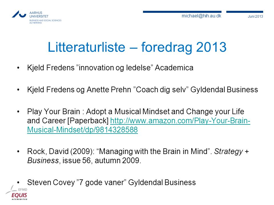 Litteraturliste – foredrag 2013