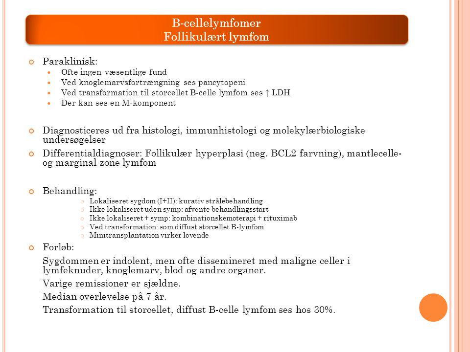 B-cellelymfomer Follikulært lymfom Paraklinisk: