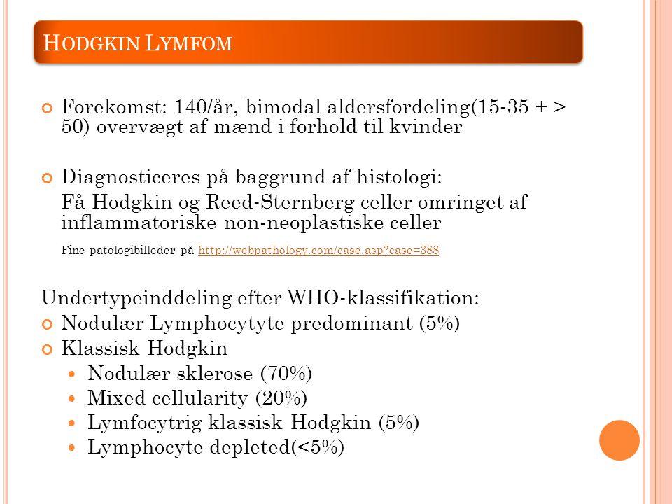 Hodgkin Lymfom Forekomst: 140/år, bimodal aldersfordeling(15-35 + > 50) overvægt af mænd i forhold til kvinder.