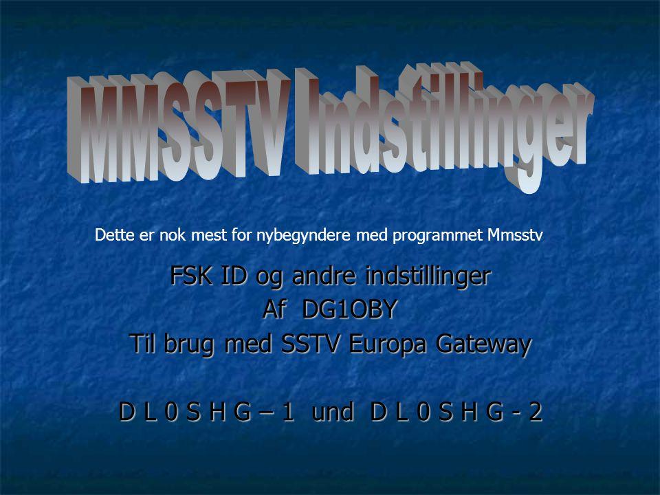 MMSSTV Indstillinger FSK ID og andre indstillinger Af DG1OBY