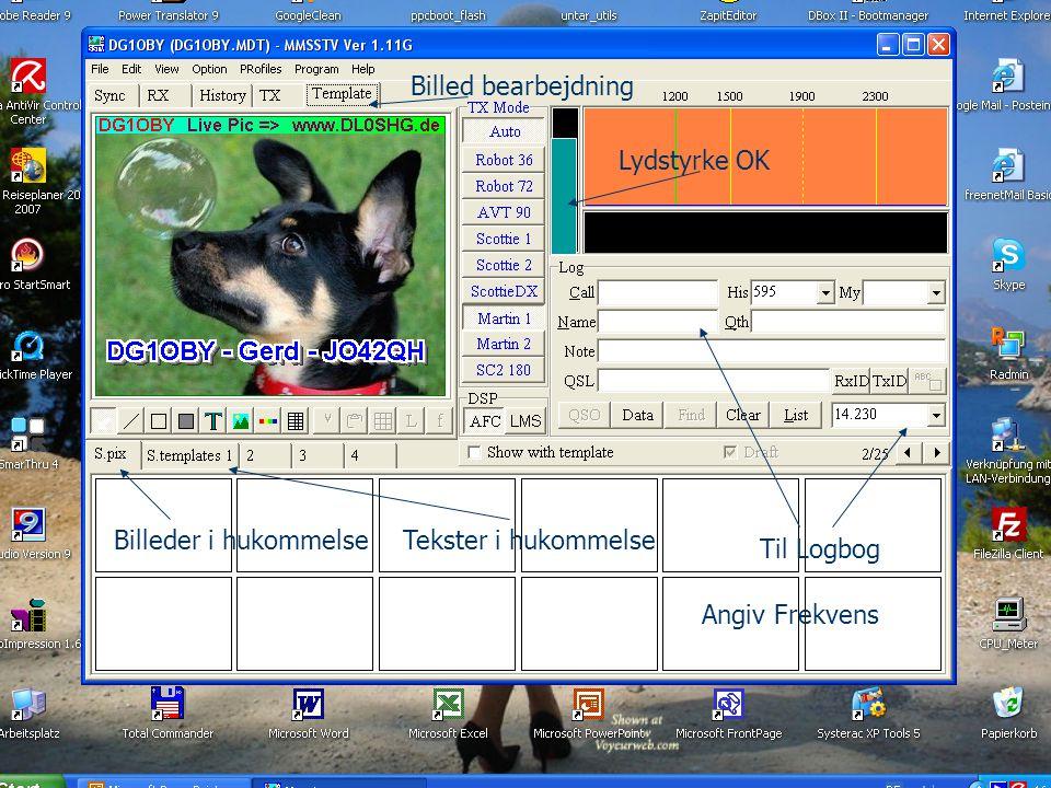 Billed bearbejdning Lydstyrke OK. Billeder i hukommelse.